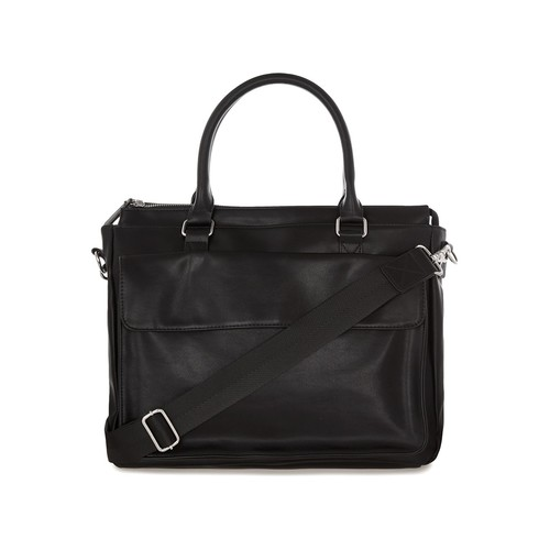 Black Faux Leather Brief Case