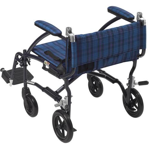 Drive Medical Fly Lite Ultra Lightweight Blue Transport Wheelchair