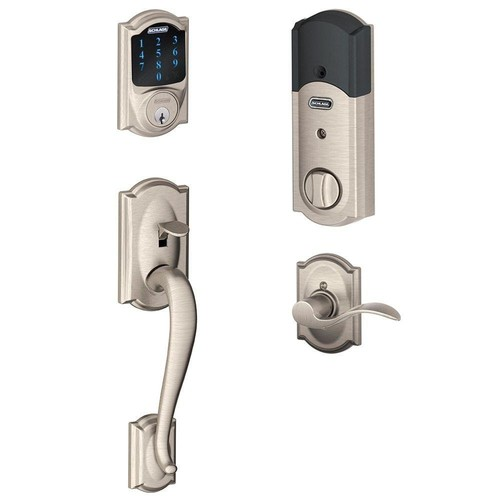 Schlage Connect Camelot Touchscreen Deadbolt with Built-In Alarm and Handleset Grip with Accent Lever, Satin Nickel, FE469NX ACC 619 CAM LH [Satin Nickel, Left Camelot]