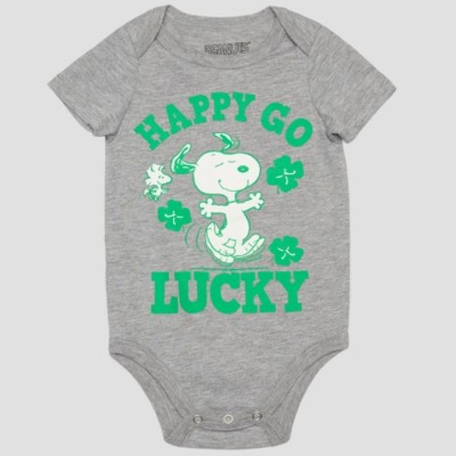 Peanuts Baby Boys' Snoopy 'HAPPY GO LUCKY' Short Sleeve Bodysuit - Gray/Green