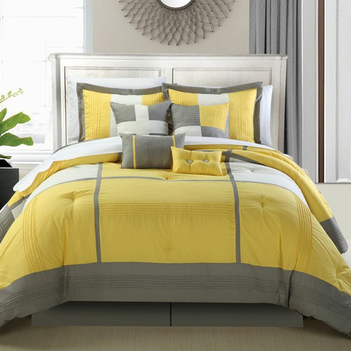 Dorchester Yellow 12 Piece Comforter Bed In A Bag Set With Sheet Set