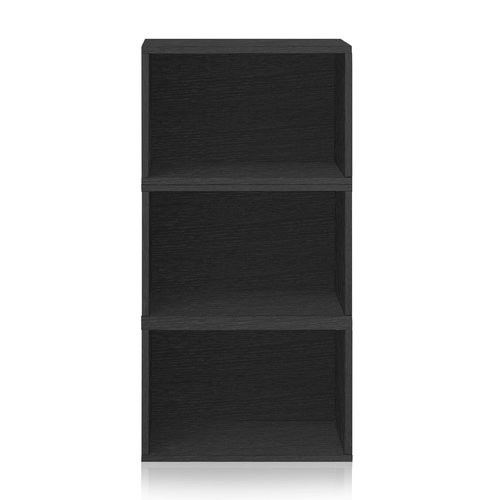 Way Basics Blox System Venice Eco zBoard Tool Free Assembly Stackable 3-Cubby Modular Bookcase Storage Shelf in Black Wood Grain