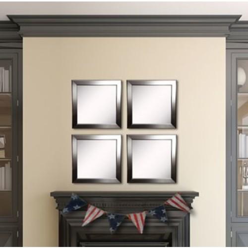 Rayne Mirrors Ava Silver Rounded Wall Mirror (Set of 4)