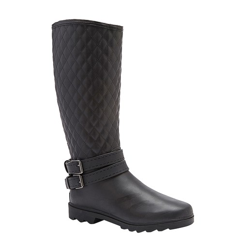 Black Quilted Double Buckle Tall Rain Boots