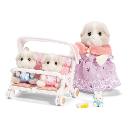 Calico Critters Patty and Padens Double Stroller Set