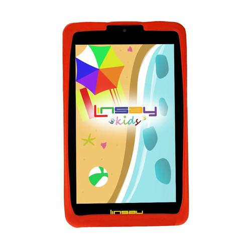 LINSAY 7 inch Kids Funny 1280 x 800 IPS Screen Tablet with Red Defender Case
