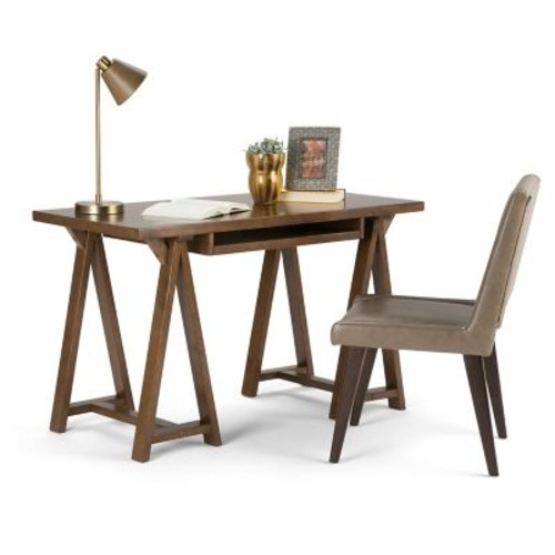 Simpli Home Sawhorse Small Desk in Medium Saddle Brown (3AXCSAW-07S)