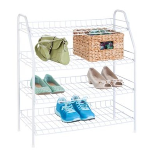 Honey-Can-Do 4-Tier Shoe Storage Rack in White