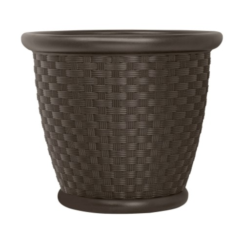 Suncast Brown Resin Weave Planter(P181605E34)