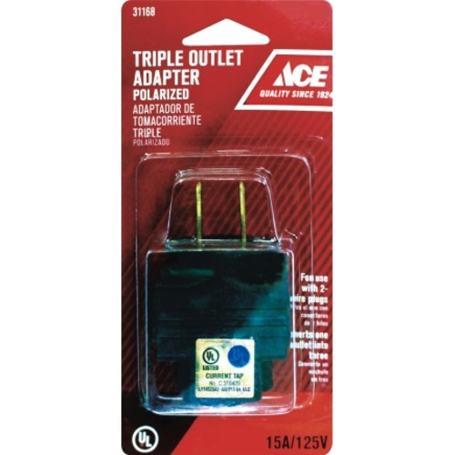 Ace Polarized Triple Outlet Adapter Brown 15 amps 125 volts 1 pk(5 Pack)(FA-702A/01)