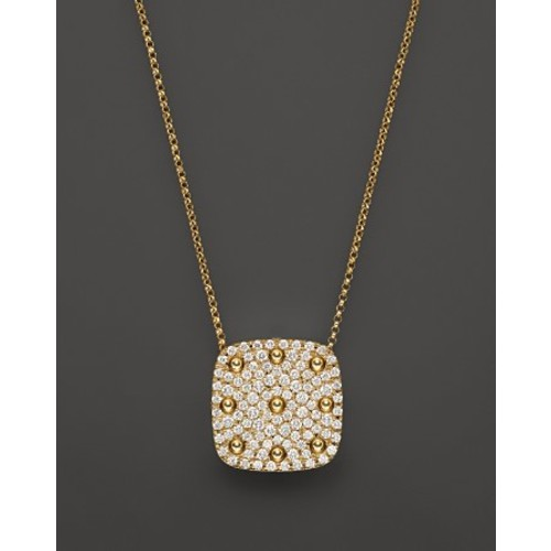 18K Yellow Gold Pois Moi Square Pendant Necklace with Diamonds, 16