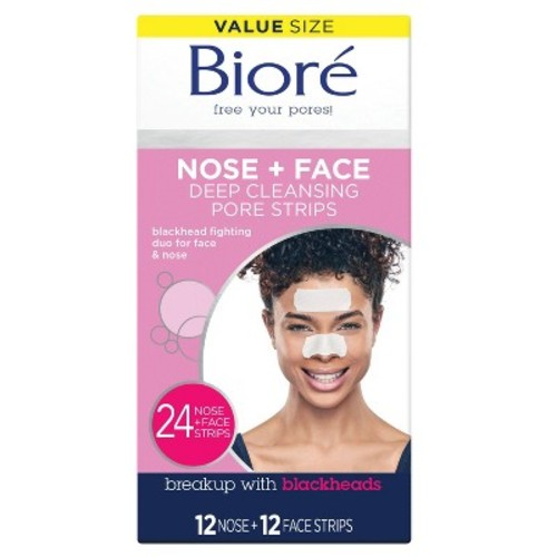 Biore Deep Cleansing Pore Strips Combo Pack, 24 Count Combo Strips [24 Combo (12 Nose Strips & 12Face Strips)]