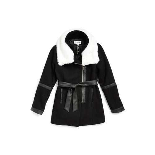 Faux Shearling & Faux Leather Coat (Big Girls)