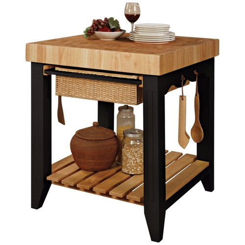 The Powell Company Powell Color Story Black Butcher Block Kitchen Island