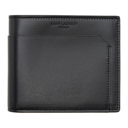 SAINT LAURENT Black Fragments East West Wallet