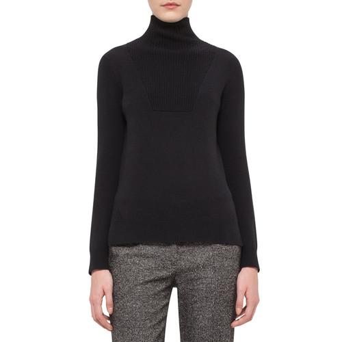AKRIS PUNTO Chunky Knit Turtleneck Sweater, Black