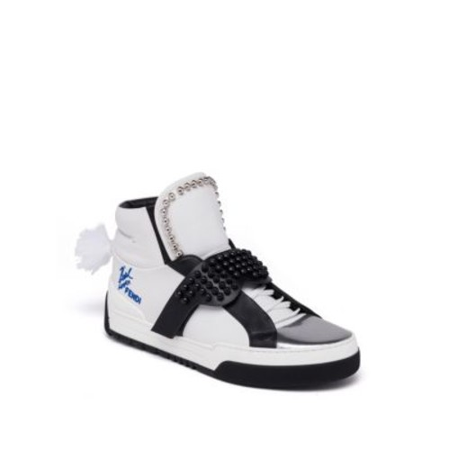 FENDI Karlito Studded High Top Calf Leather Sneakers