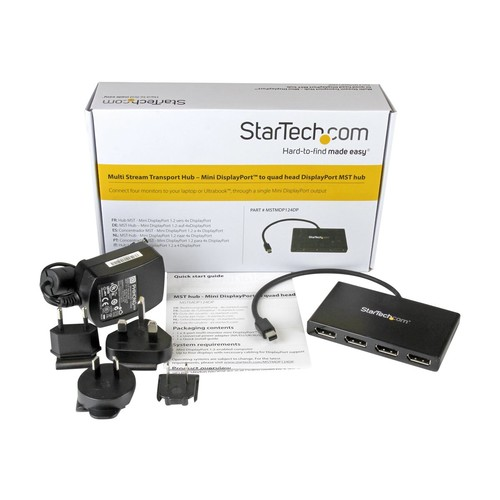StarTech.com MST Hub Mini DisplayPort to 4x DisplayPort - mDP 1.2 to DP - Video splitter - 4 x DisplayPort - desktop (MSTMDP124DP)