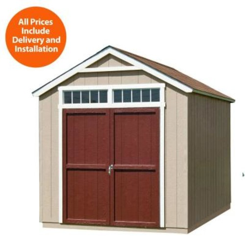 Handy Home Products Installed Majestic 8 ft. x 12 ft. Wood Storage Shed with Autumn Brown Shingles