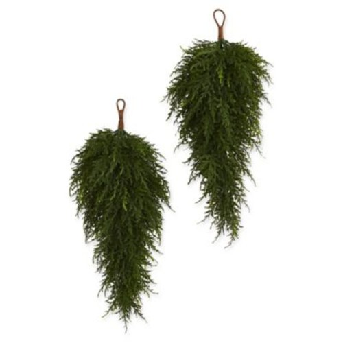 Nearly Natural Cedar Artificial Teardrop Plant (Set of 2)