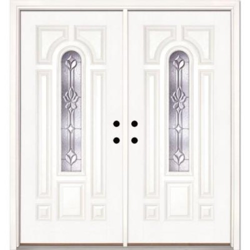 Feather River Doors 74 in. x 81.625 in. Medina Zinc Center Arch Lite Unfinished Smooth Right-Hand Fiberglass Double Prehung Front Door