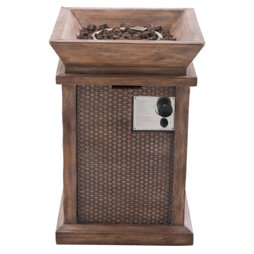 Sunjoy Wausau 29 Faux Wicker and Wood LP Fire Pit, Weathered Gray Finish