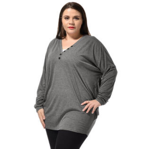 Unique Bargains Women's Plus Size V Neck Dolman Sleeves Leisure Stylish Tunic T-Shirt