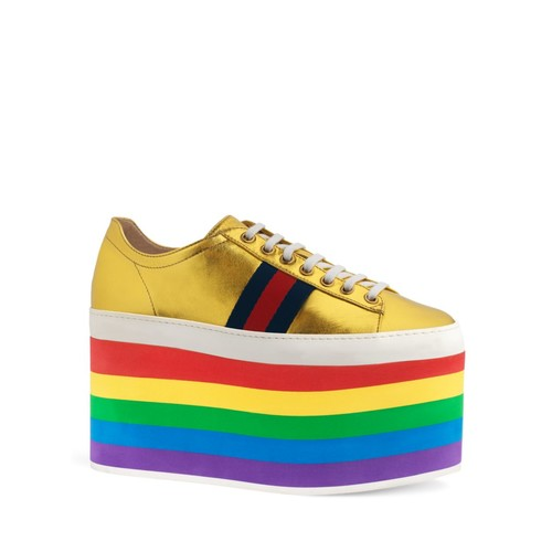 GUCCI Peggy Rainbow Platform Sneakers
