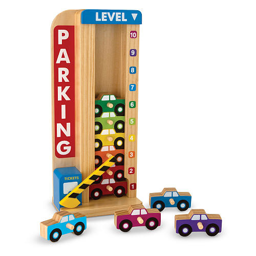 Melissa & Doug Stack and Count Wooden Parking Garage Classic Toy