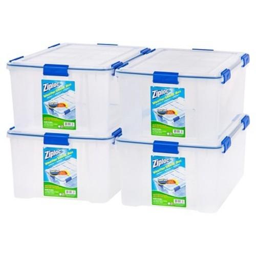 Ziploc WeatherShield 60 Qt Storage Box - 4 Pack