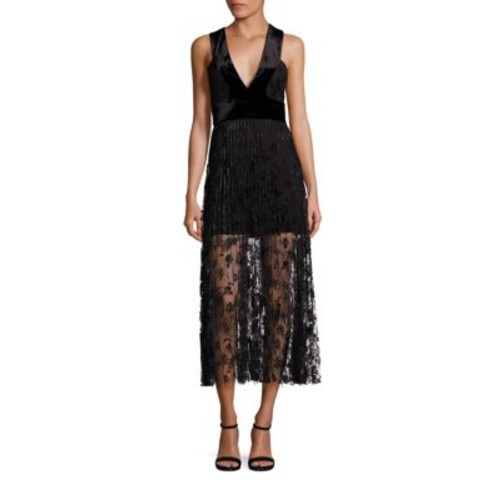A.L.C. Lola Velvet & Embroidered Lace Midi Dress
