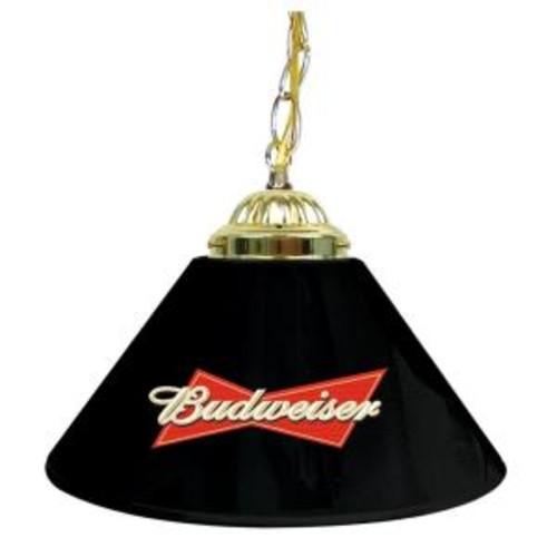 Trademark Global Budweiser 14 in. Single Shade Black and Brass Hanging Lamp