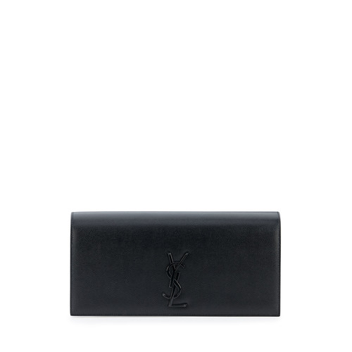 SAINT LAURENT Monogram Leather Clutch Bag, Black