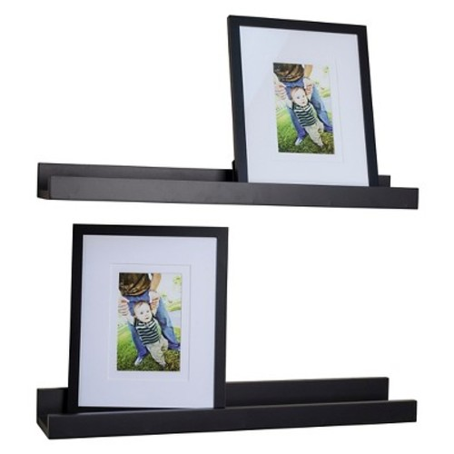 Danya B. Ledge Shelves with 2 Photo Frames  Set of 2  Black