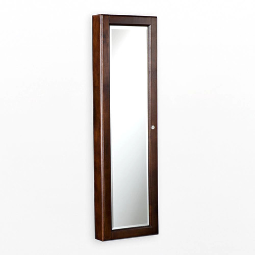 Wall Mount Jewelry Mirror - Brown Walnut [Brown Walnut]