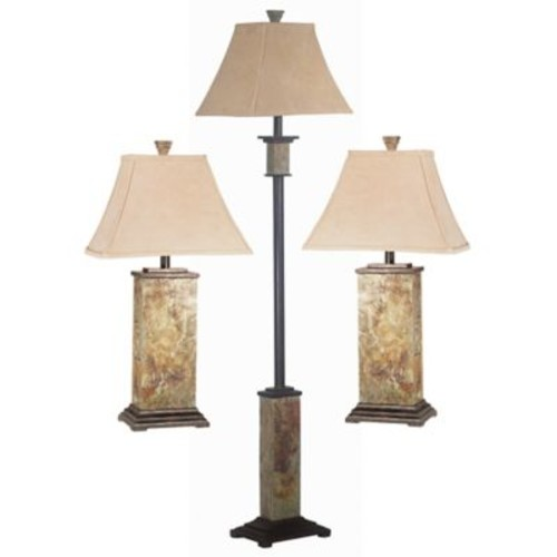 Kenroy Home Bennington Lamps in Natural Slate (Set of 3)