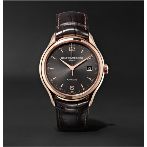 Baume & Mercier - Clifton Automatic 39mm 18-Karat Red Gold and Alligator Watch