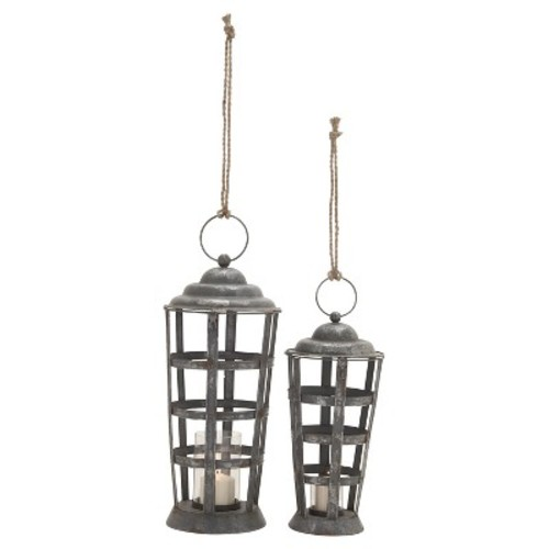 Rustic Reflections Iron and Glass Candle Holder Lantern Set 2ct - Olivia & May