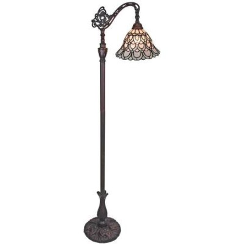 Amora Lighting 62 in. Tiffany Style Floor Lamp with Adjustable Shade