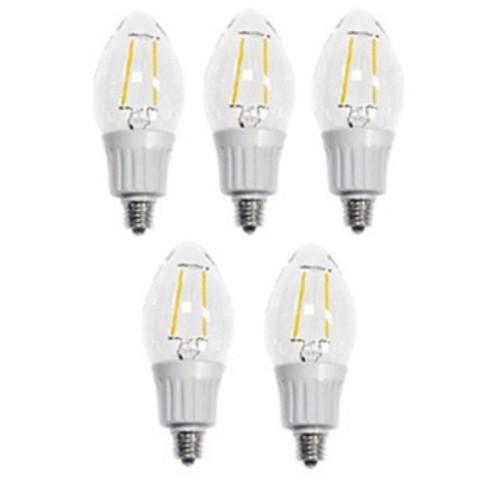 Artiva USA Dimmable Filament LED 2700K Warm Light Fine Tip Bulb 40 watt replacement (Set of 5)