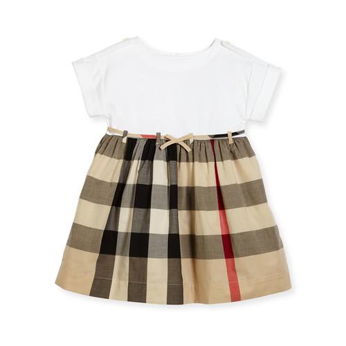 BURBERRY Rhonda 1 Jersey & Check Poplin Dress, Size 4