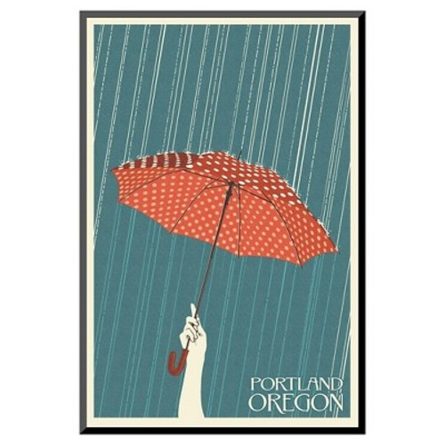 Art.com Portland, Oregon - Umbrella by Lantern Press - Mounted Print