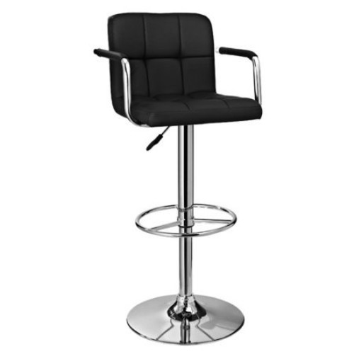 Powell Quilted Bar Stool with Gas Lift and Arms, Black and Chrome