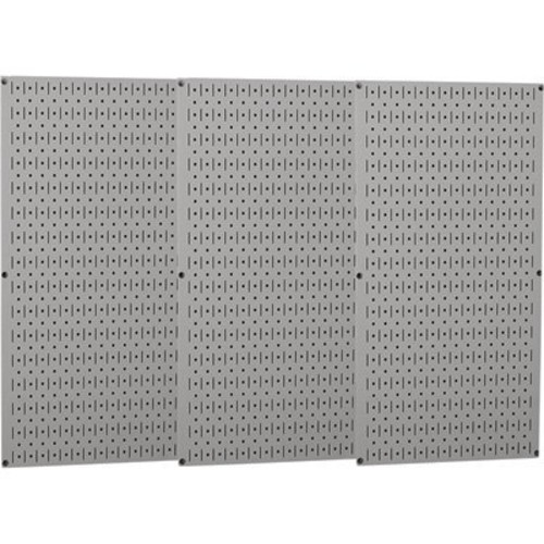 Wall Control Industrial Metal Pegboard - Gray, Three 16in. x 32in. Panels, Model# 35-P-3248GY
