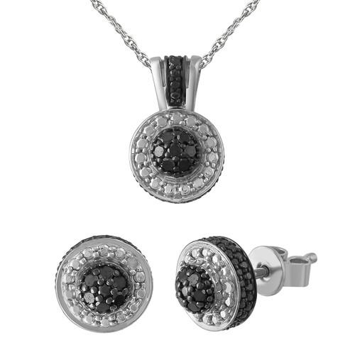 1/4 CTTW Black Diamond Earrings And Pendant Set