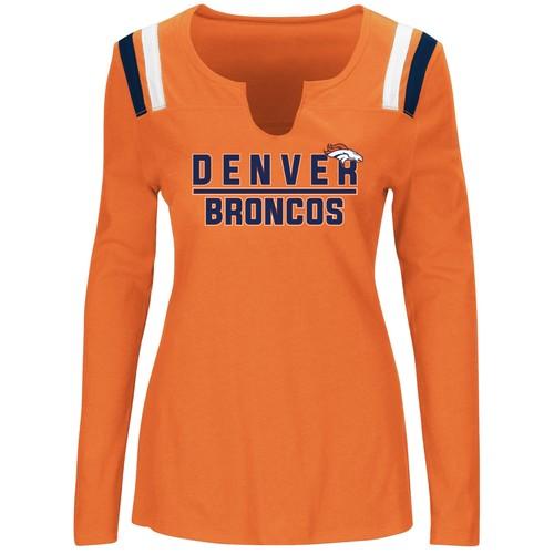 GIII Womens Gray Denver Broncos Long Sleeve French Terry Hooded Shirt