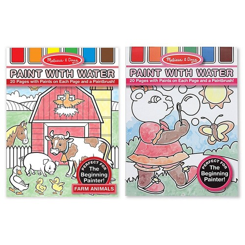 Melissa & Doug Paint With Water Set - Farm Animals and More [Paint with Water Bundle (Girls)(Pack of 2)]