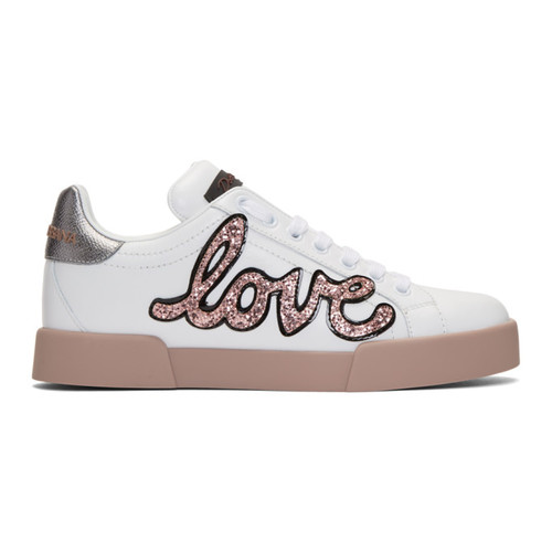 DOLCE & GABBANA White & Pink Heart Patch Sneakers