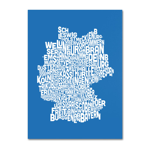 Trademark Global Michael Tompsett 'Germany Regions Map - Summer' Canvas Art [Overall Dimensions : 14x19]