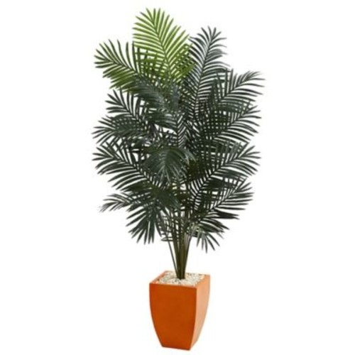 Nearly Natural 6-Foot 5-Inch Paradise Artificial Palm Tree with Orange Planter